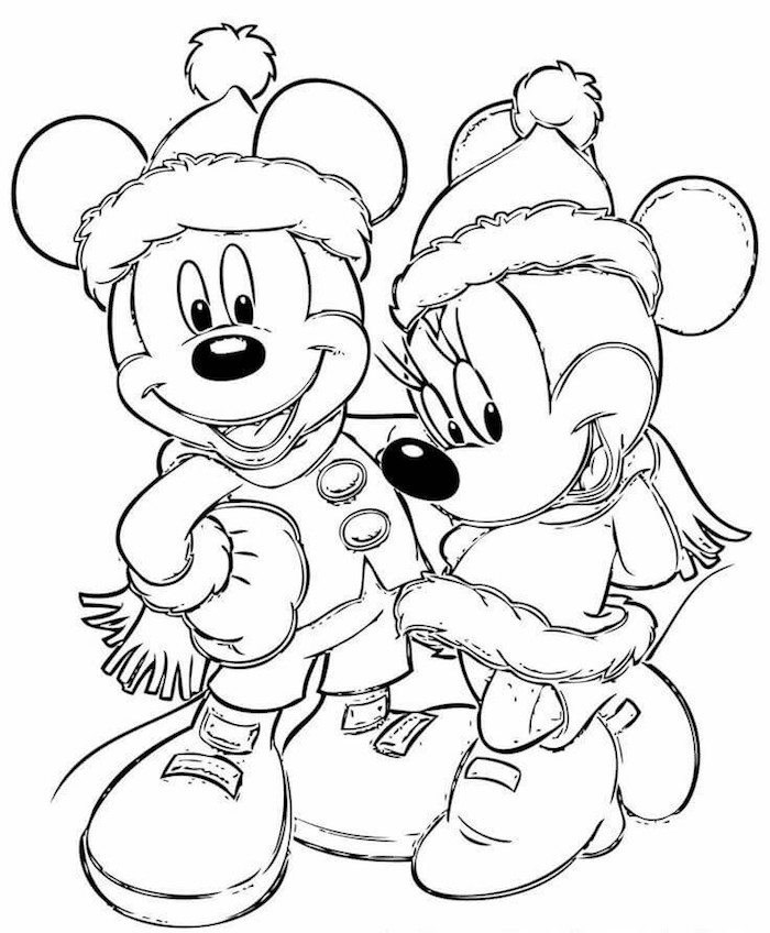 Disney coloriage noel Mickey et Minnie Mouse, idée comment créer une carte de voeux noel