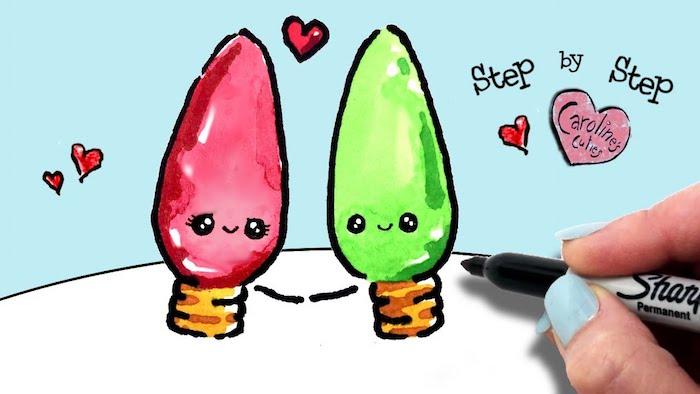 Bulbes rouge et vert amoureux, guirlande lumineuse dessin noel, inspiration pere noel dessin, art simple et rapide