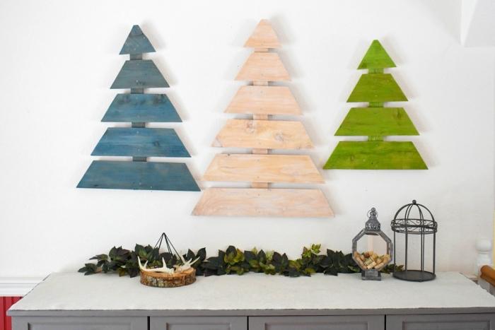 figurines de sapin en bois recup à réaliser soi-même pour une déco de Noël originale, diy sapin noel bois peint en vert