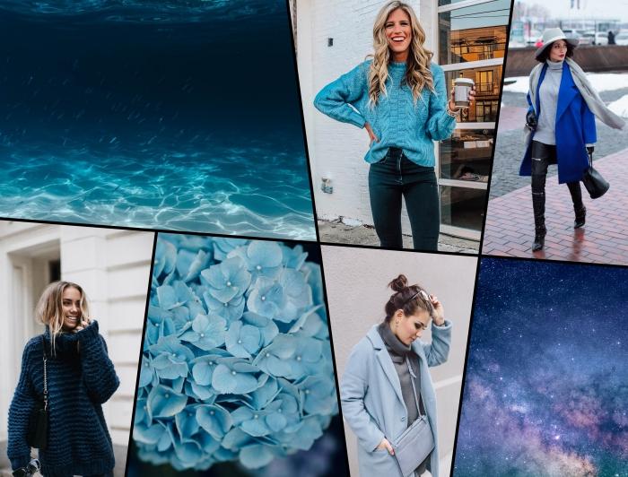 idée look tendance femme en pull over gris porté sous un manteau oversized de couleur bleu pastel et accessoirisé avec une pochette bleu pâle