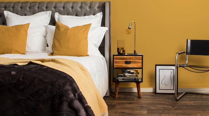 Jaune et gris, comment décorer une chambre joviale, chambre noir et blanc, comment décorer sa chambre grise