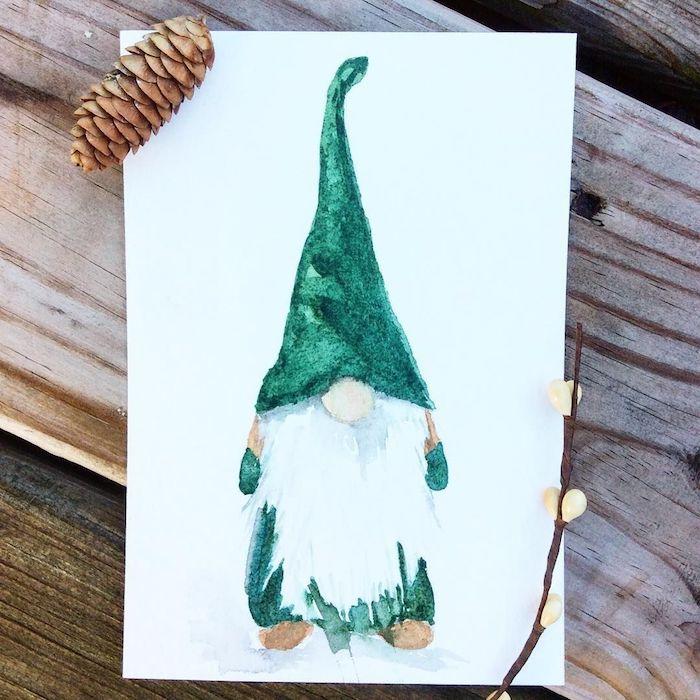 Nain vert costume et grande chapeau, aider le pere noel dessin pour débutant, apprendre à dessiner facilement