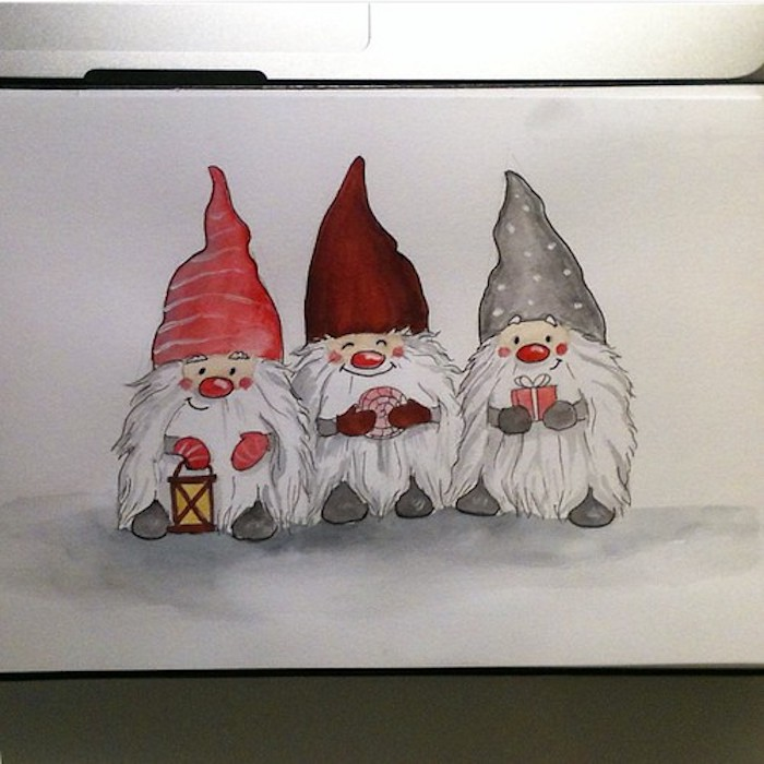 Peinture aquarelle pour dessin adorable de nains coloriage de noel, inspiration dessin de noel à faire soi meme, dessin festif mignon