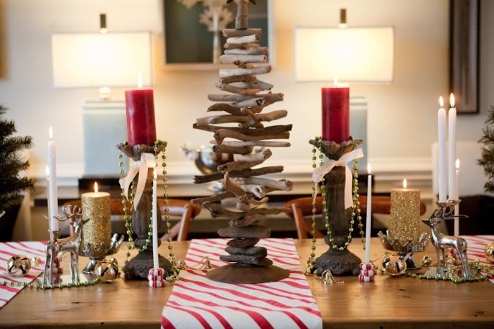 diy sapin bois flotté fait main, idée comment dresser une table de Noël avec mini arbre de Noël en bois flotté fait maison