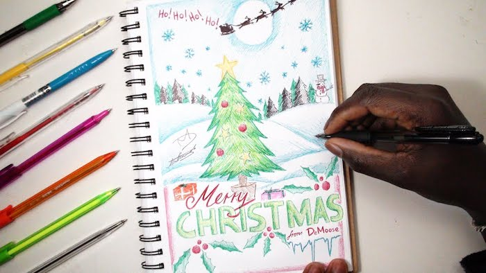 Sapin de noel dessiné avec crayons colorés, idée dessin pere noel, coloriage noel pour enfants et grands