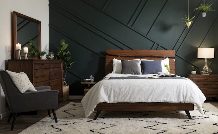 Couleur gris anthracite et blanc, murs en deux couleurs, bois mobilier, cosy chambre à coucher couleurs
