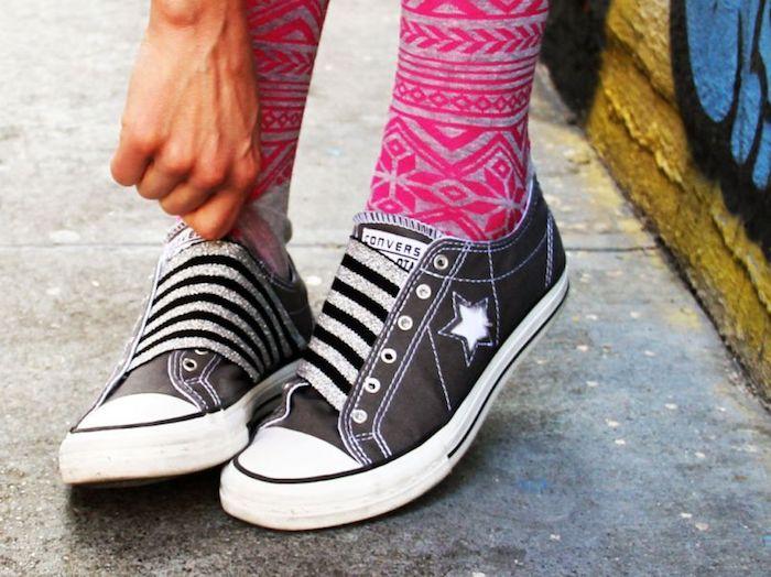 Basket noir converse sans lacets personnalisé avec élastique, savoir comment customiser ses chaussures