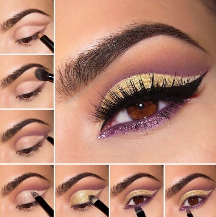 les étapes à suivre pour réaliser un maquillage festif avec ombres à paupières or et violet, tutoriel maquillage des yeux pour fête