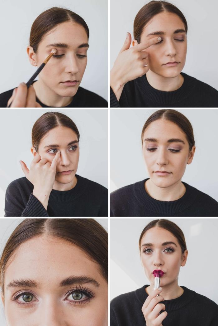 étapes à suivre pour réaliser un maquillage facile aux lèvres rouge foncé, apprendre a se maquiller les yeux facilement