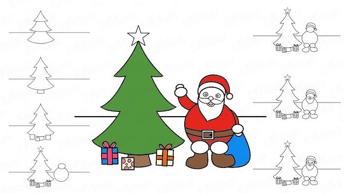 Sapin et père noel, cadeaux dessin simple pas à pas, dessin de noel facile a reproduire, apprendre a dessiner