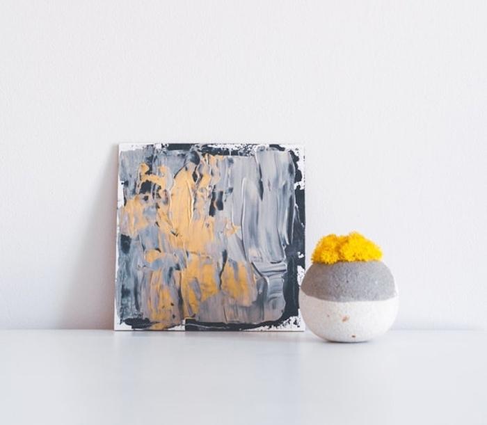 Décoration murale, peinture abstrait en acrylique, vase à fleurs jaunes