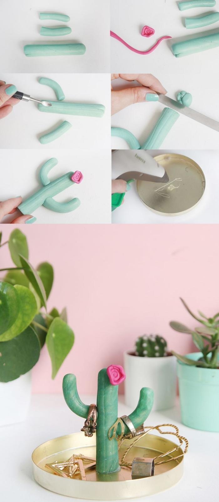 étapes à suivre pour faire un organisateur bijoux facile, diy coupelle à design doré avec cactus en plâtre vert menthe