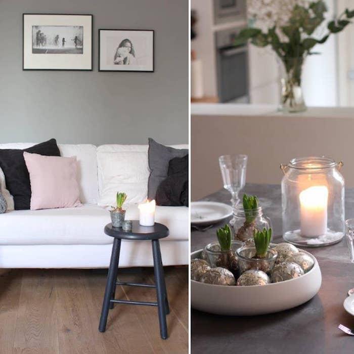 Canapé blanc avec coussins roses contre mur gris, photos noir et blanc, peinture bleu gris, quelle couleur associer au gris