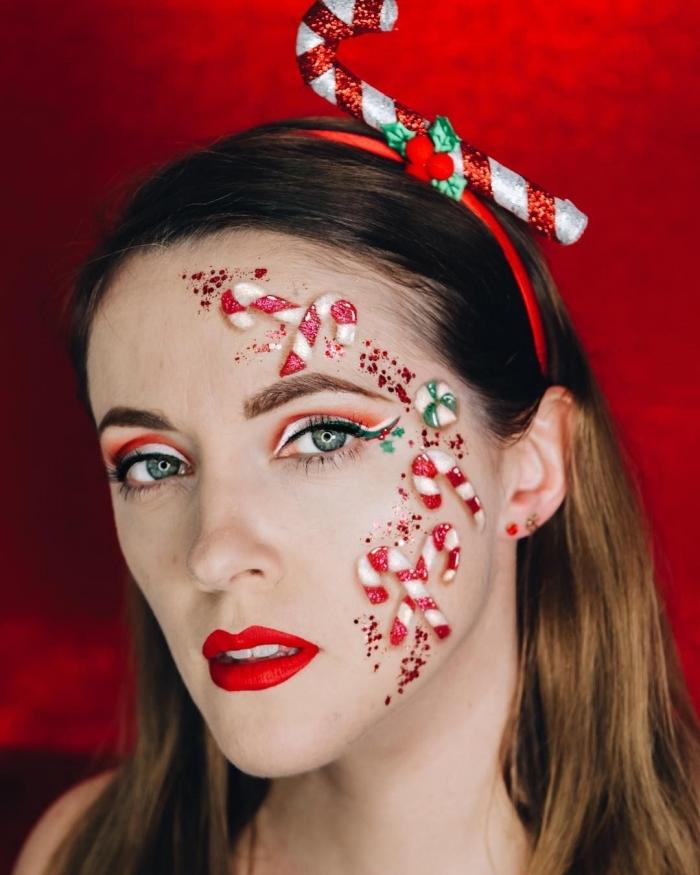 grimage de Noël à effet 3D aux motifs bonbons, exemple comment se maquiller les yeux en trois couleurs pour Noël
