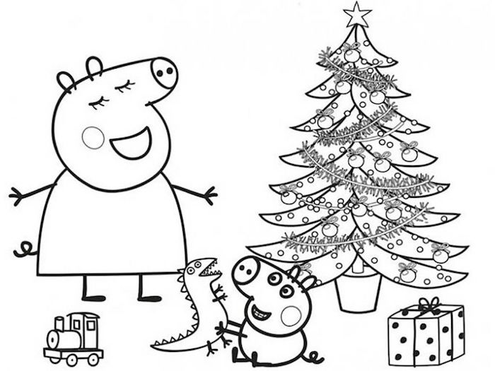 Peppa Pig Noël coloriage autour le sapin décoré joliment, enfant jouets, dessin de noel facile, le plus beaux dessin a faire soi meme