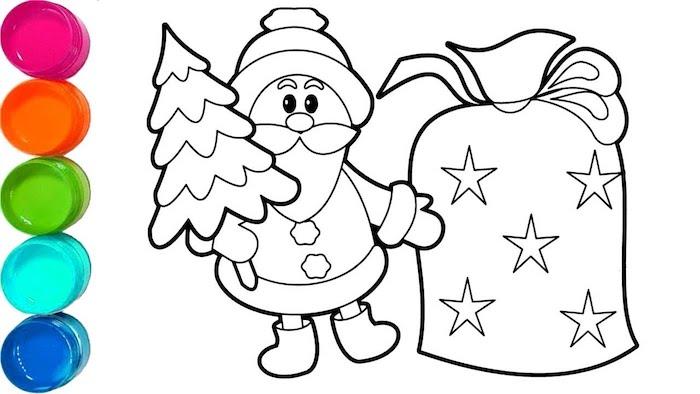 Coloriage de noël, dessin facile a reproduire pour la fete de noel, le pere noel et le sac plein de cadeaux