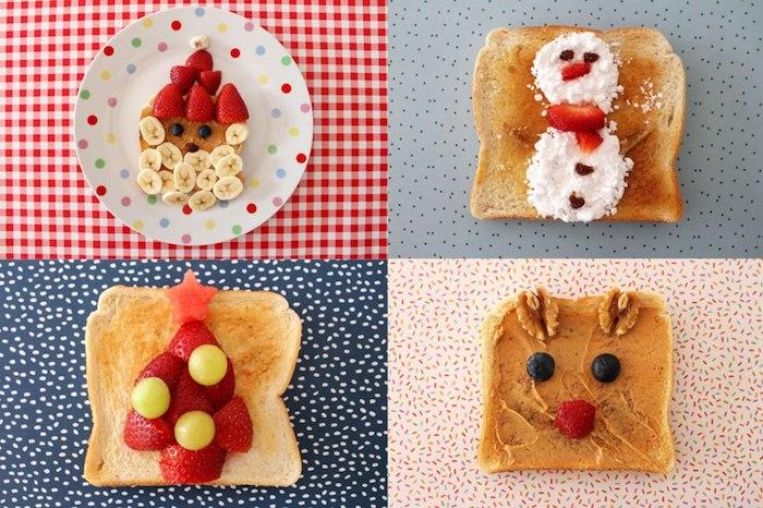 Toast pour le matin de noël, amuses bouches originaux, pain grillé garni de fraises, banane et peanut butter