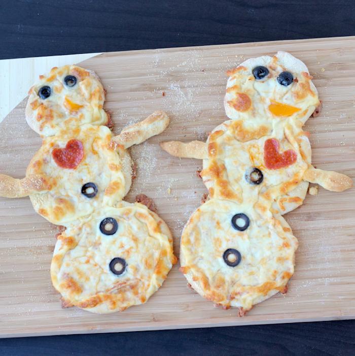 Pizza bonhomme de neige, aperitif noel, que manger avant le diner de noël officiel
