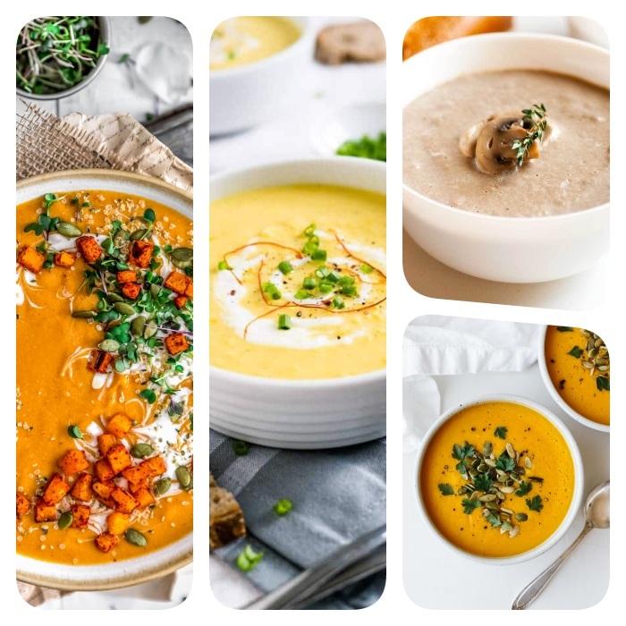 comment faire une soupe hiver, plusieurs exemples de velouté pommes de terre, butternut, carottes et champignons