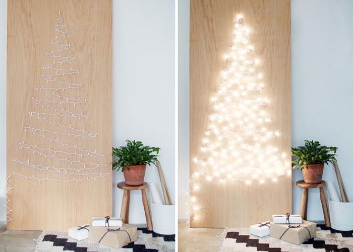 idée de décoration de noel à fabriquer pour adultes, modèle de tableau lumineux en bois avec sapin en chaîne led