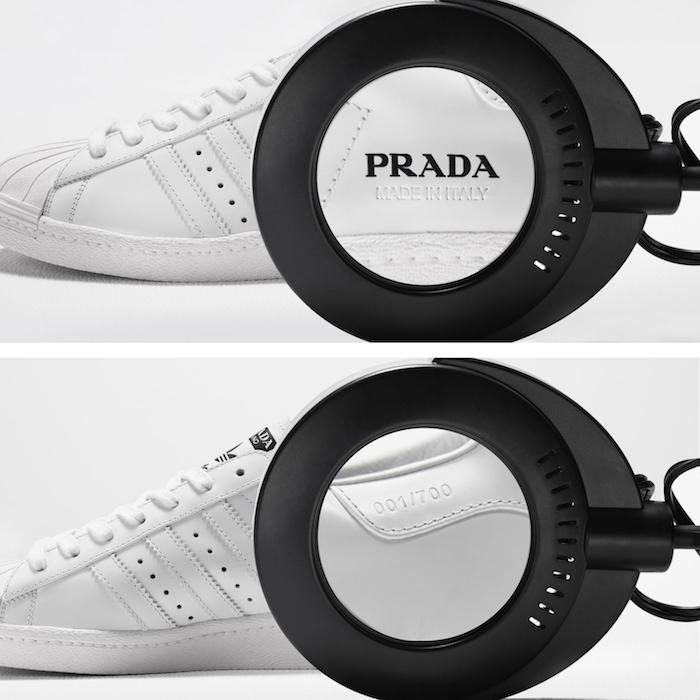 La capsule Prada x Adidas révèle une Superstar et un sac de bowling revisités en cuir banc italien