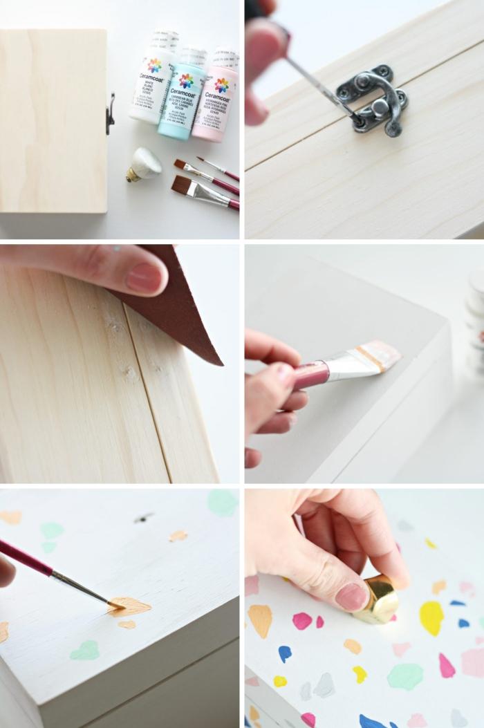 exemple comment décorer une boîte en bois avec peinture à effet terrazo, diy boite a bijoux en bois customisée