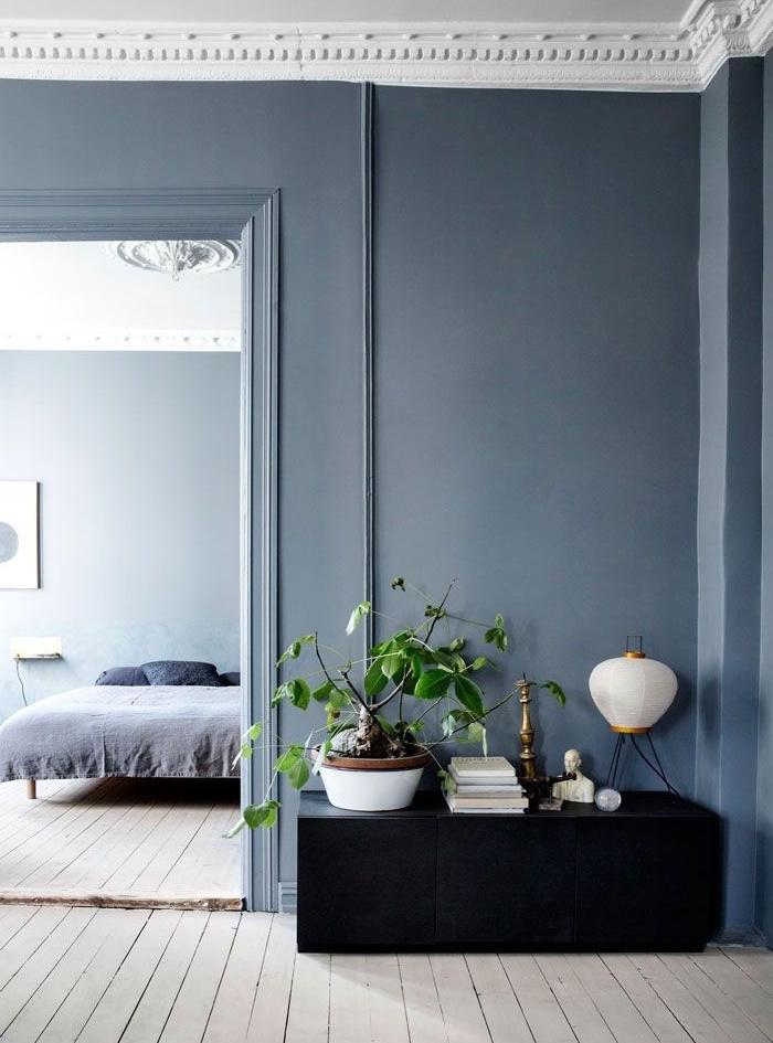 Intérieur couleur grege, moderne intérieur nordique en gris et blanc, salon qui donne à la chambre à coucher, plantes vertes
