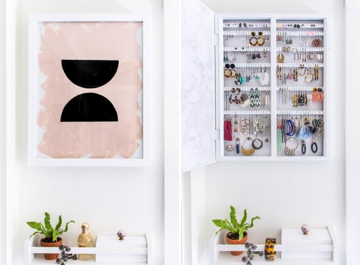 DIY organisateur mural pour bijoux, idée rangement pour boucles d'oreilles avec porte en bois repeint en blanc