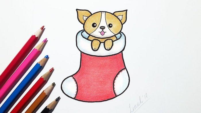Chien adorable dans chaussette noel, dessiner un pere noel, apprendre a dessiner en lignes simples
