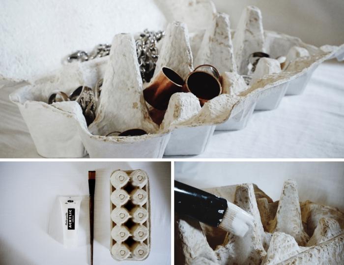 idée recyclage de boîte à oeufs, comment réaliser un organisateur pour bijoux en carton original et à petit budget