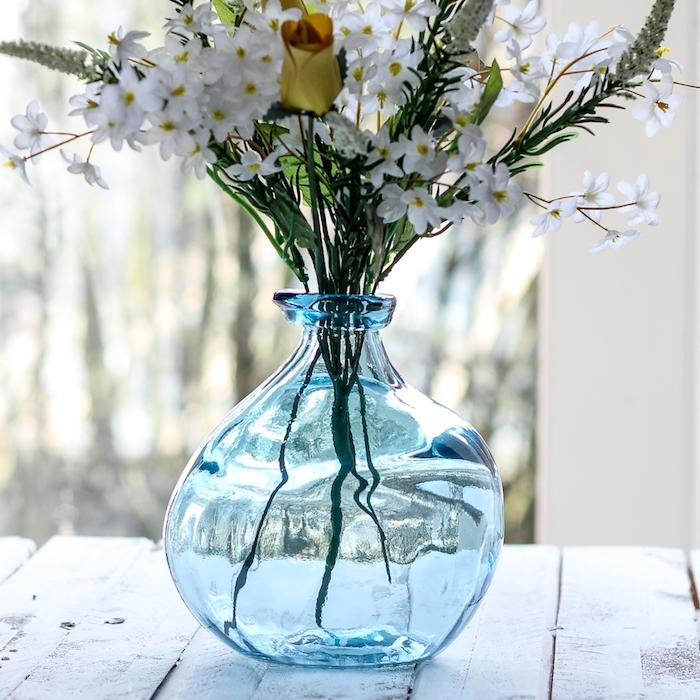 Bleu vase transparente, fleurs de printemps et été, dame jeanne déco, vase en verre décorative intérieur