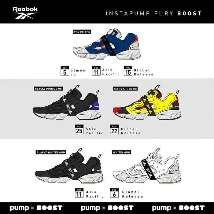 Reebok et Adidas présentent la chaussure Instapump Fury Boost disponible en trois packs et cinq couleurs