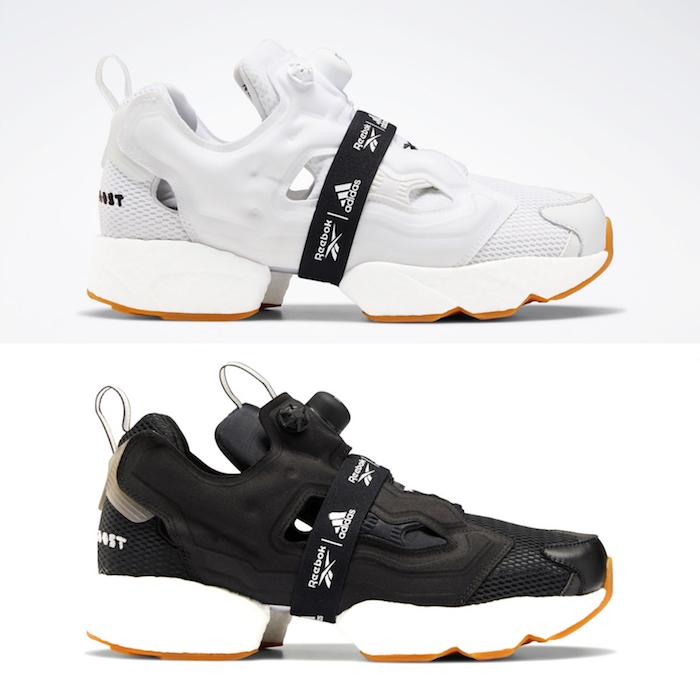 pack black / white de l Instapump Fury Boost conçue par Reebok X Adidas et équipée des technologies Pump X Boost