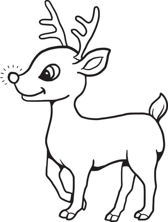 coloriage noel maternelle, commencer à dessiner mieux, renne avec nez rouge brillante
