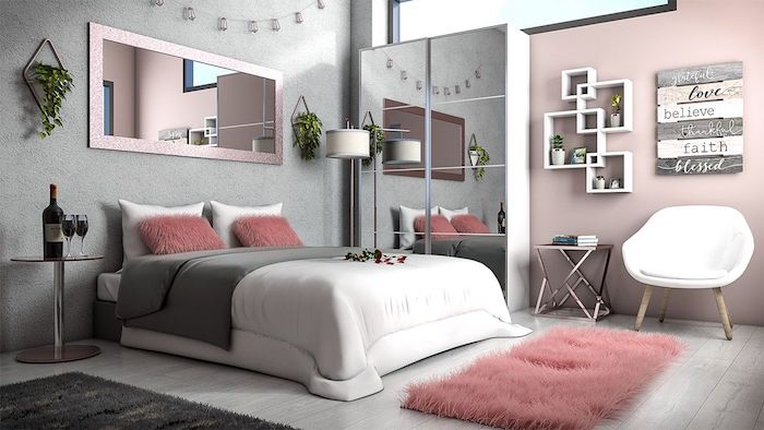 Mur rose et mur gris, lit blanc couleur gris perle, quelle couleur associer au gris perle