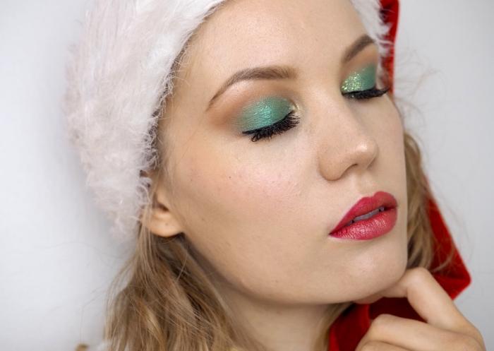 idée facile pour se maquiller les yeux pour Noël, quelles couleurs ombres à paupières pour un maquillage festif de Noël