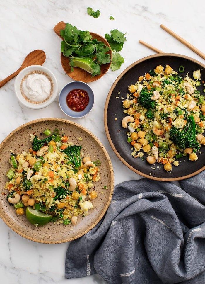 on mange quoi ce soir, idée de recette de salade à la quinoa, haricots blancs, brocolis, noix de cajou grillés, dressing