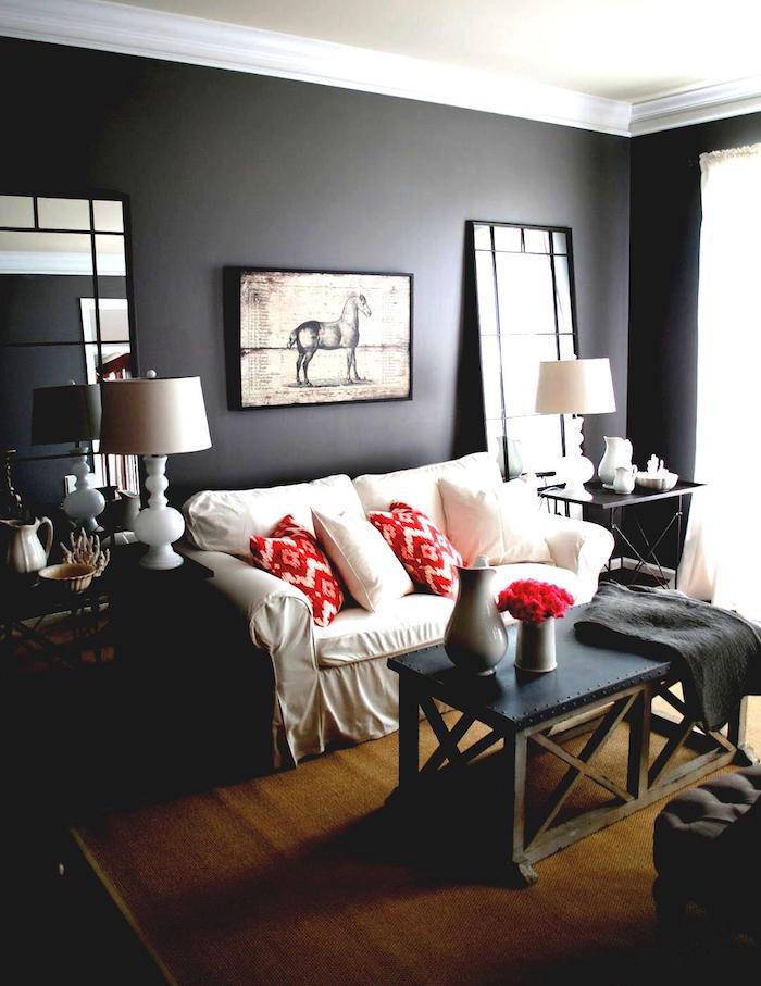Canapé blanche style rustique, intérieur chambre gris foncé et blanc, idée comment décorer sa chambre
