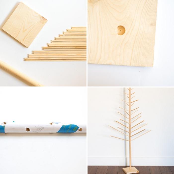 pas à pas comment assembler les parties d'un sapin DIY en bois, activité manuelle noel pour faire un arbre en bois