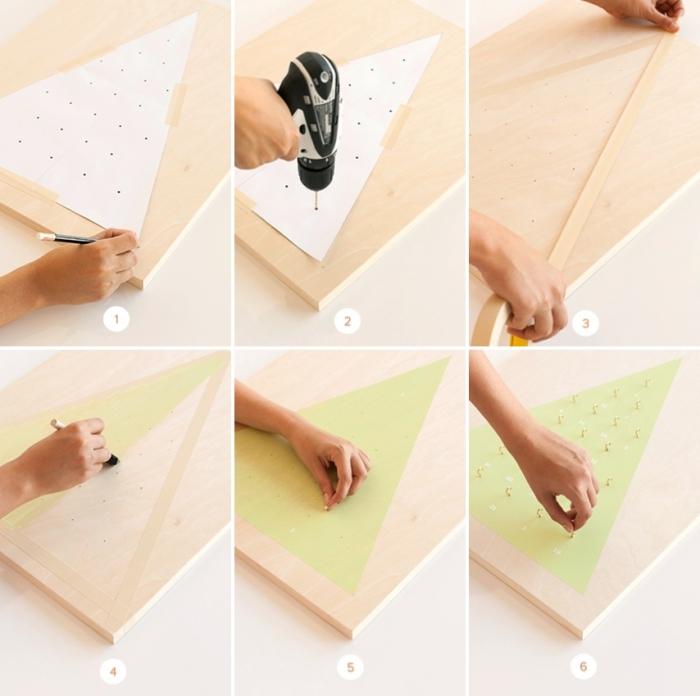 activités manuelles noel, tutoriel comment faire un calendrier de l'avent à design bois avec peinture arbre de Noël