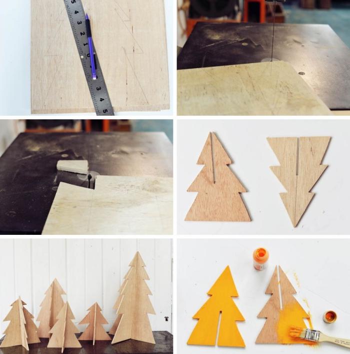 pas à pas pour découper des sapins sur contreplaque de bois, modèles d'arbre de noel en bois de style minimaliste