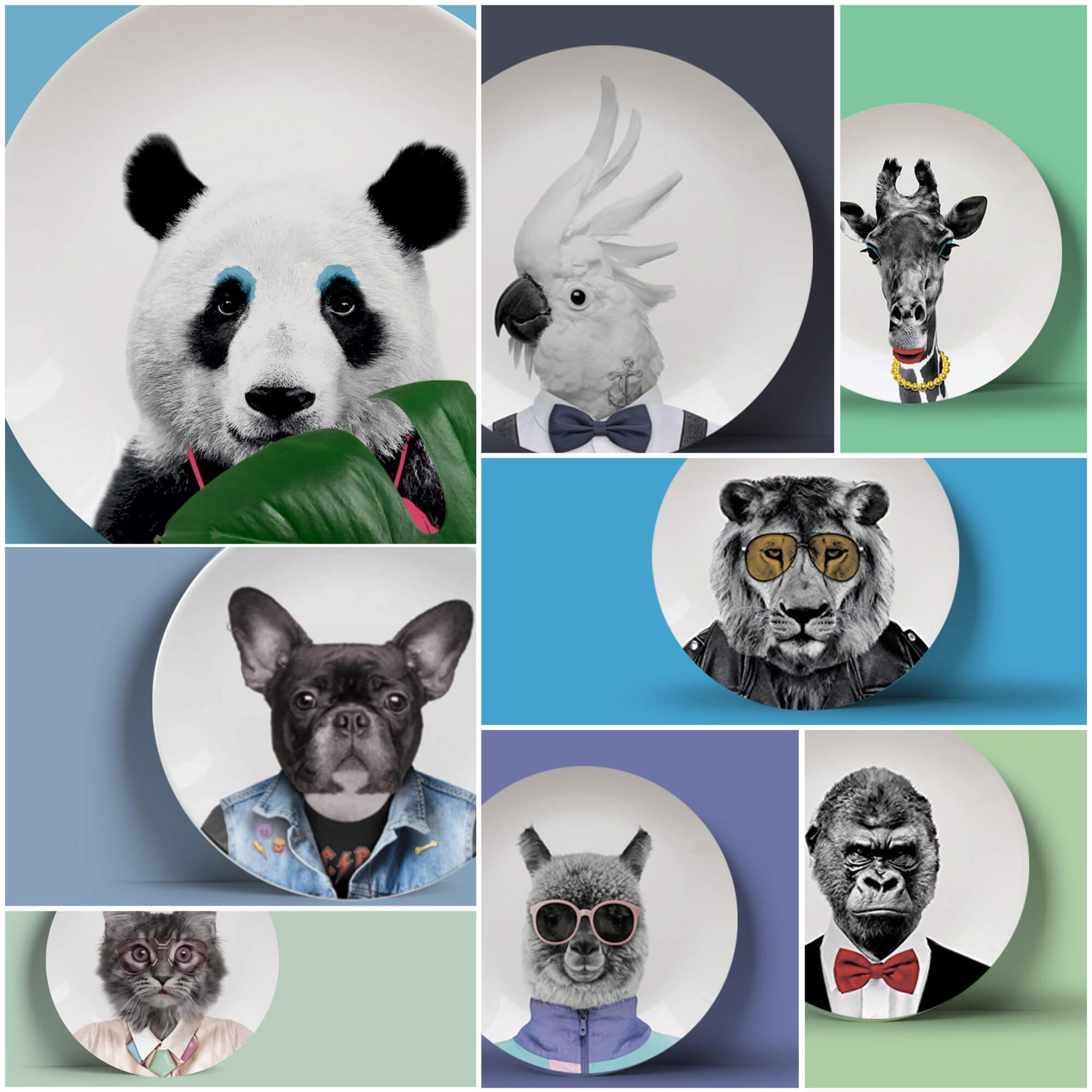modèles d'assiettes rondes blanches à motifs animaux, tendance design vaisselle moderne avec photos animaux