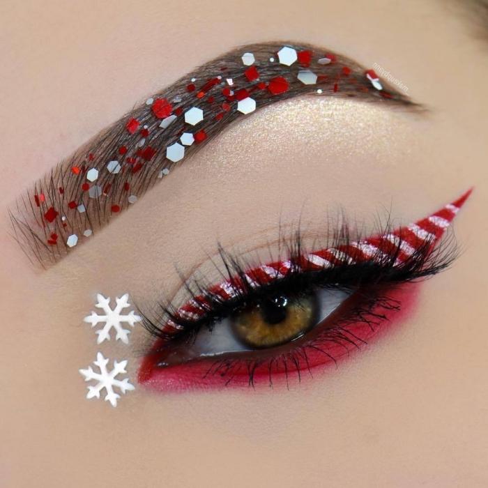 exemple de maquillage des yeux original pour Noël, make-up paupières rouge et blanc façon bonbon et sourcils Noël