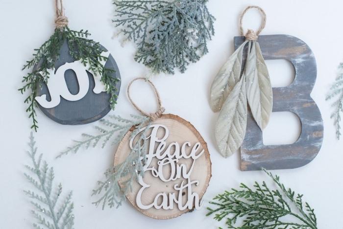 exemple de décoration de noel à fabriquer soi meme facile, modèles d'ornements pour sapin en rondelles de bois