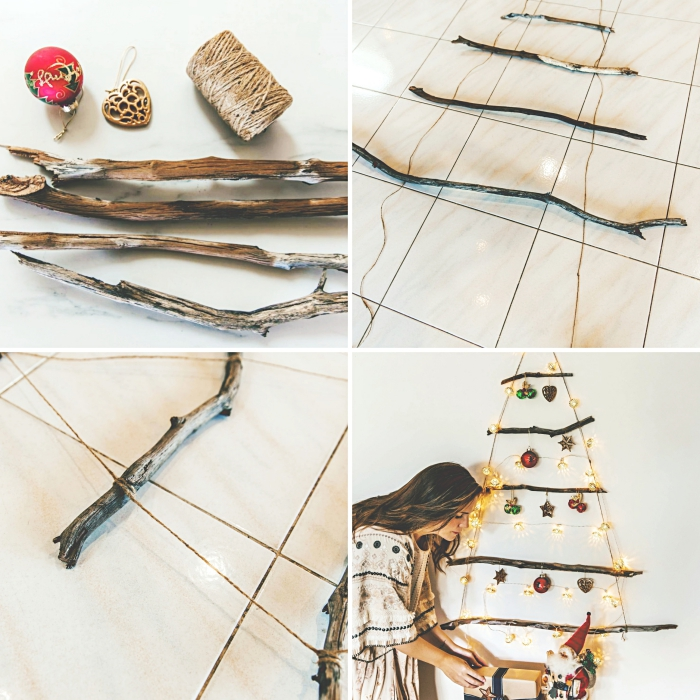pas à pas pour réaliser un sapin en bois flotté avec corde, diy décoration murale pour noel avec branches bois et guirlande lumineuse