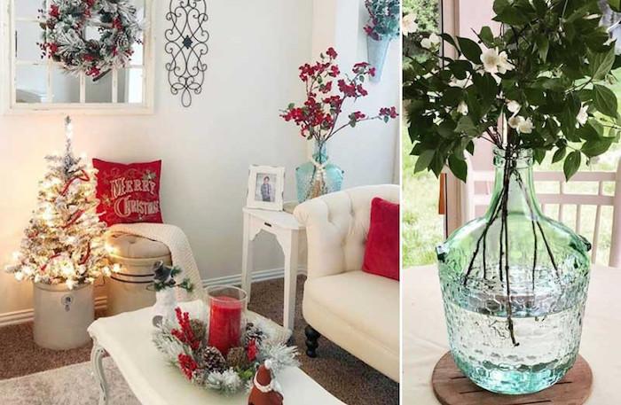 Deco de noel a faire soi meme avec recup, tourie décorative sur la table ronde, canapé blanche, table basse blanche dans le salon