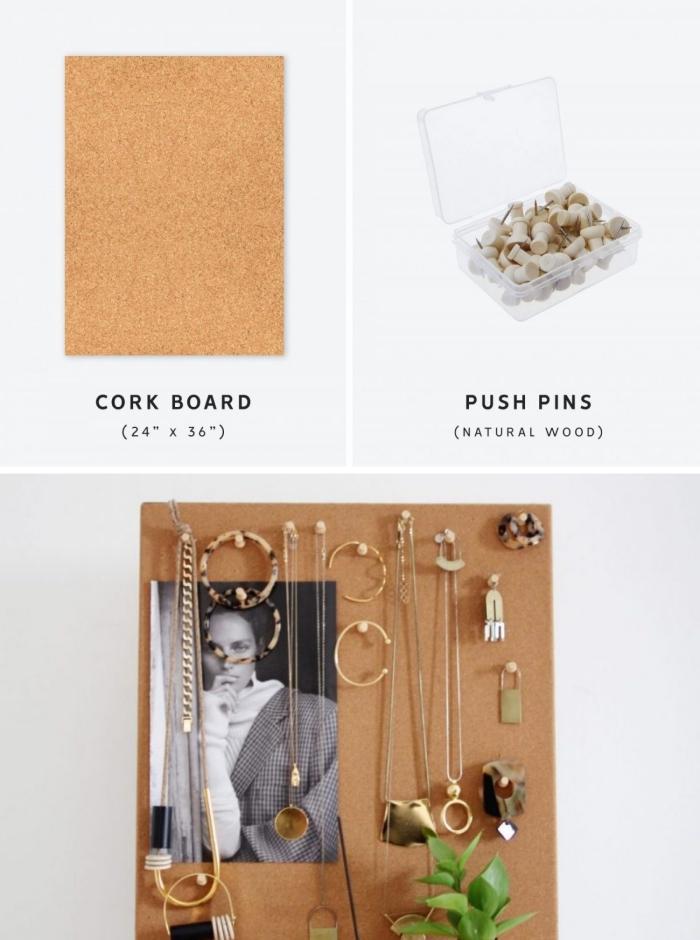 comment faire un porte boucle d oreille et colliers facile, diy rangement mural en tableau de liège avec punaises pour bijoux