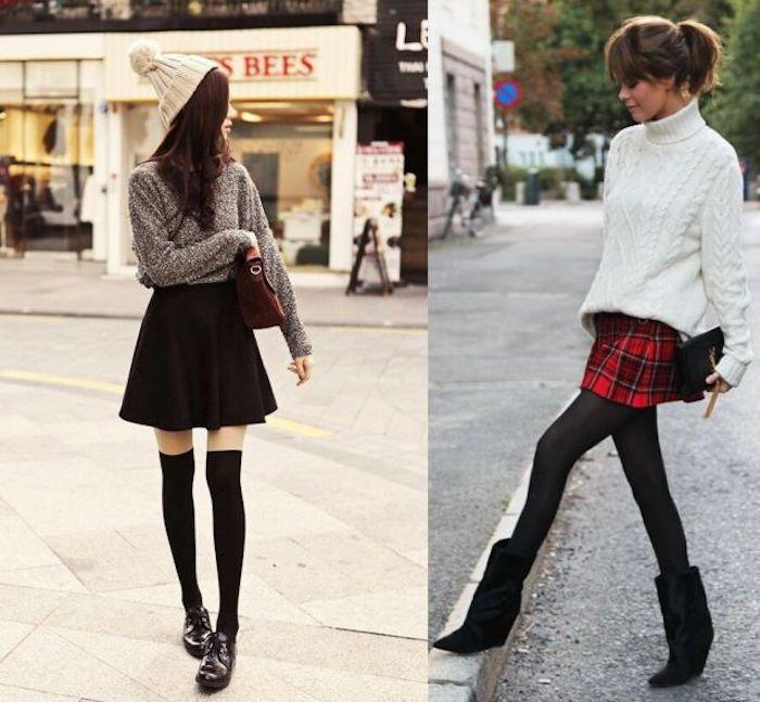Deux idées comment s'habiller en hiver, pull et mini-jupe association, robe de noël, comment s'habiller pour un diner festif