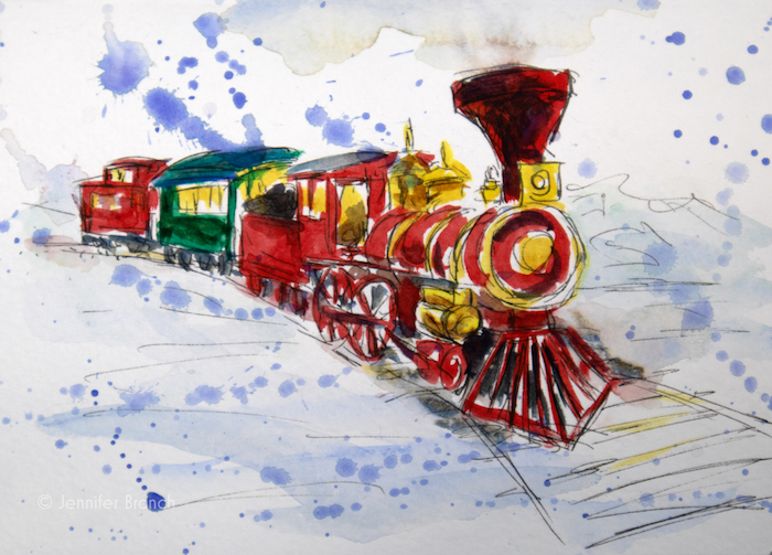 Magnifique train coloré a l aquarelle, apprendre a dessiner, idée dessin noel cool et facile à apprendre