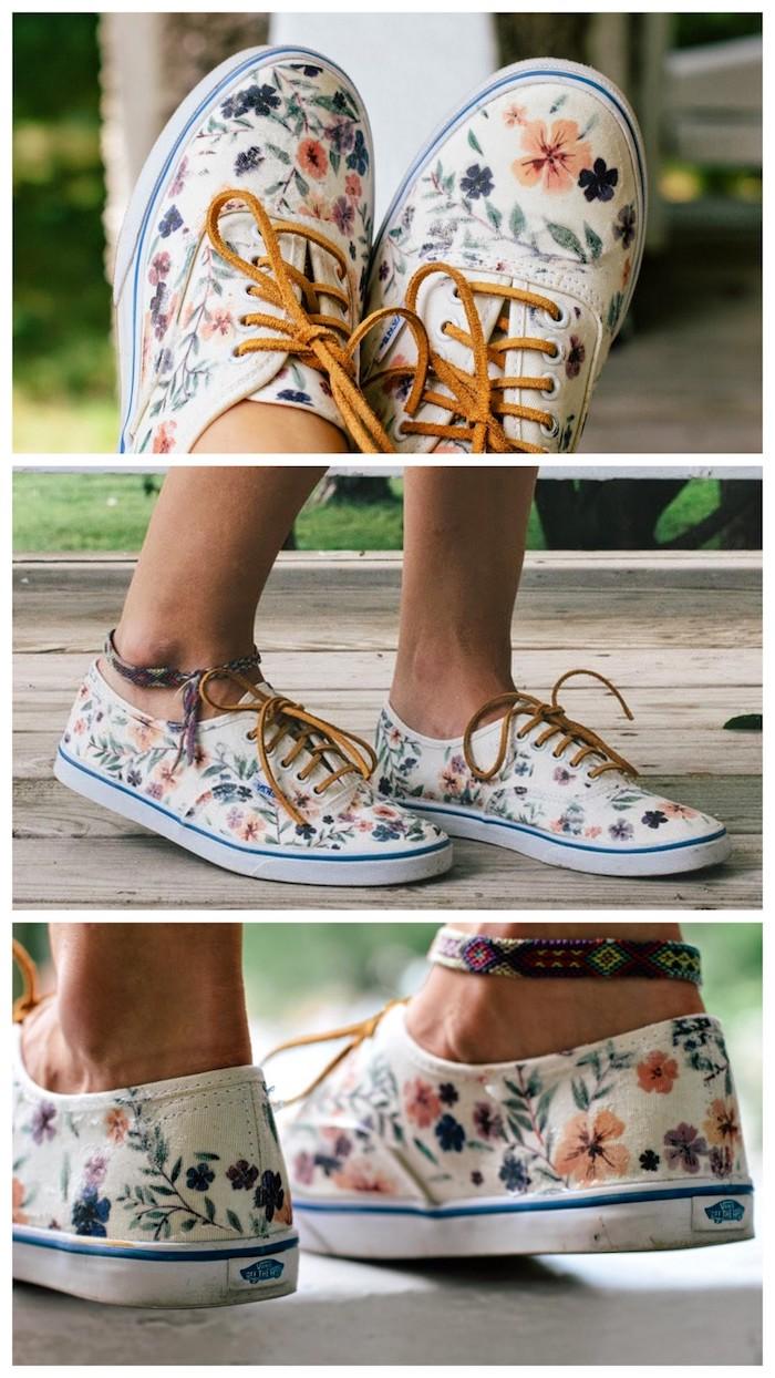 Fleurs en peinture blanche, basket peinture chaussure, créer son propre paire de chaussures personnalisées
